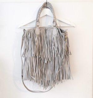 H&M Sac à franges gris clair-blanc faux cuir