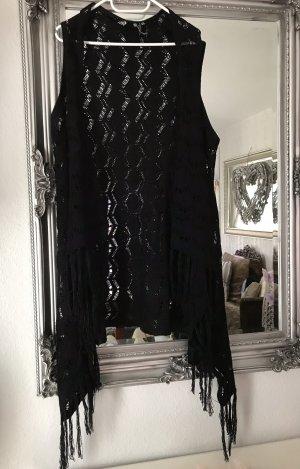 Jean Pascale Cardigan en crochet noir