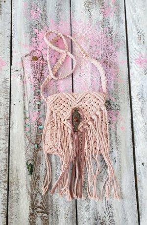 las dalias ibiza Bolso de flecos rosa claro Algodón