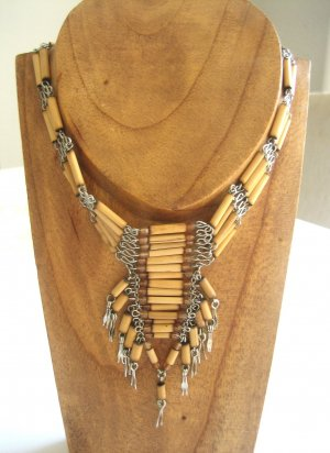 Collier Necklace multicolored wood