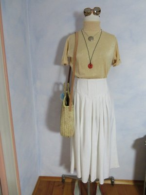 Vintage Falda de talle alto blanco