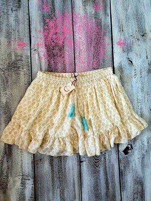 Raga Sukienka boho beżowy-jasnożółty Len
