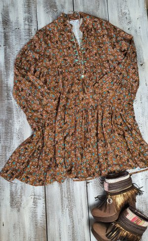 Hippie Dress brown-turquoise