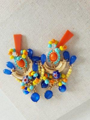 Boho Hippie Ohrring Blaue Orange Statement Ohrschmuck Schmuck