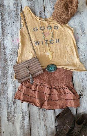 Flounce Skirt light brown-brown cotton