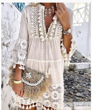 Robe Hippie blanc-blanc cassé