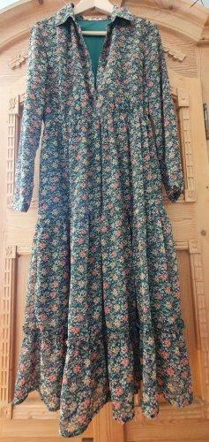Boho Kleid grün mit Blumen Größe M