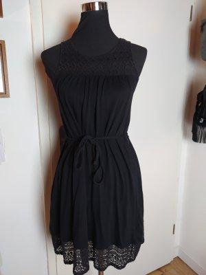 Boho Kleid mit Häkelspitze H&M, schwarz, Baumwolle, S/36
