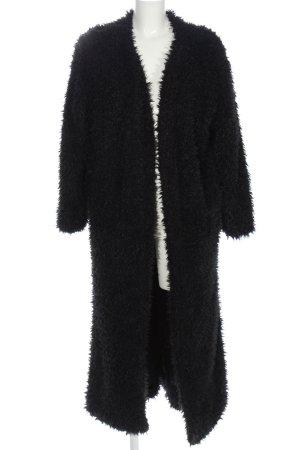 Boho Manteau en fausse fourrure noir style décontracté