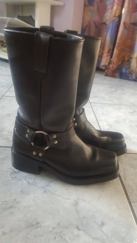Biker Boots black-silver-colored leather