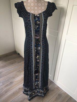 Yessica Robe longue blanc-bleu foncé