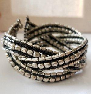 Mouwband zilver-zwart