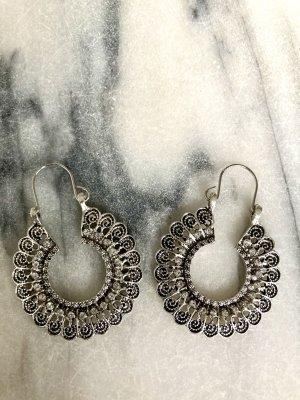 Zara Accesoires Pendientes de cuentas color plata-blanco