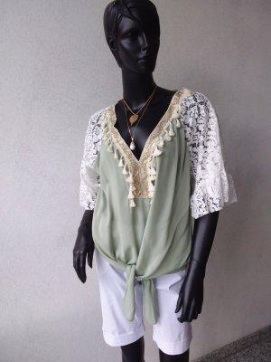 Boho-Print Bluse mit Spitzeeinsatz