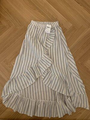Subdued Falda de lino blanco-azul celeste