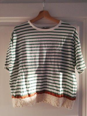 Zara Oversized shirt wit-groen