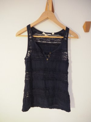 H&M Crochet Top dark blue