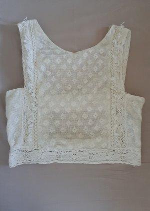 Zara Backless Top natural white cotton