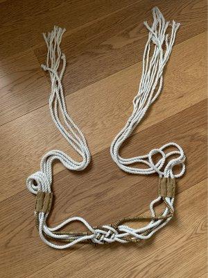 Cinturón trenzado blanco puro-marrón claro