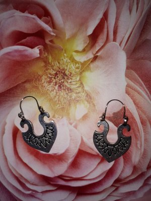Vintage Silver Earrings silver-colored
