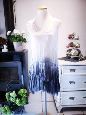 Boho Volant Sommerkleid von Zara Woman mit Farbverlauf weiß blau Gr S Sommer Kleid Midikleid Midi Kleid