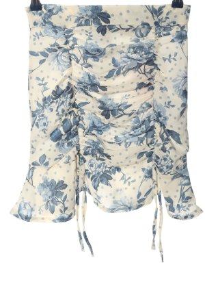 Bohoo Miniskirt natural white-blue allover print casual look