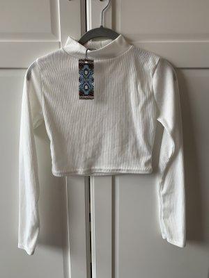 Bohoo Ribbed Shirt white-cream polyester