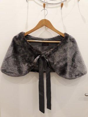 Bolero aus Webpelz mit Satinschleife in grey