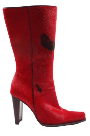 bolero Wysokie buty na obcasie czerwony-czarny Zwierzęcy wzór