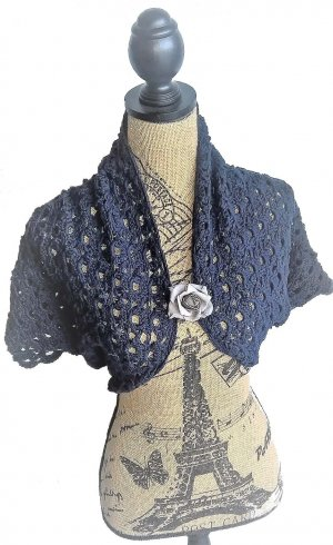 Knitted Bolero dark blue cotton