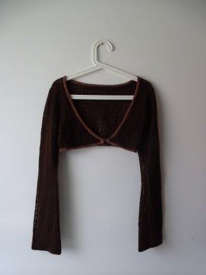 Bolero lavorato a maglia marrone scuro-marrone