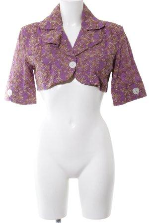 Torera lila-marrón estampado con diseño abstracto look vintage