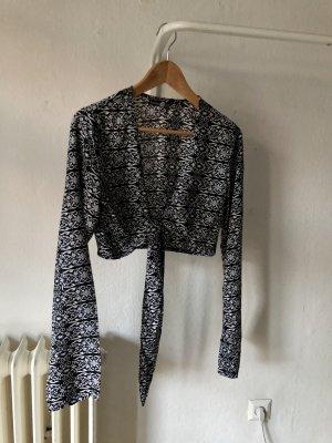 Boohoo Blusa kimono nero-argento Poliestere