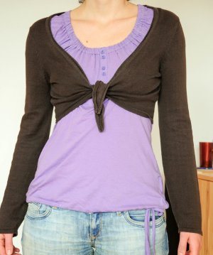 Street One Knitted Bolero dark brown cotton
