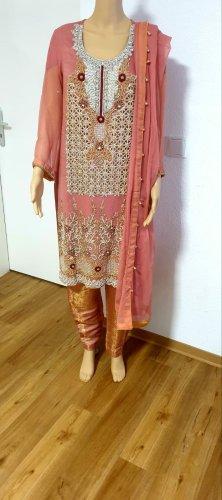 INDIA BOUTIQUE Vestido de chifón color rosa dorado