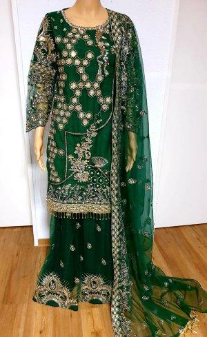 Aus Indien Bruidsjurk goud-groen