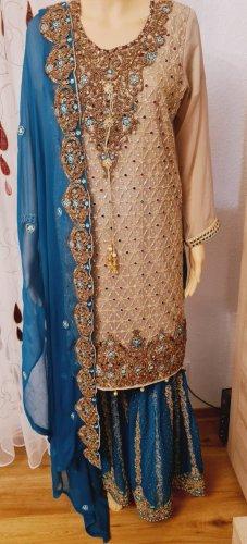 Aus Indien Sukienka z baskinką złoto-niebieski
