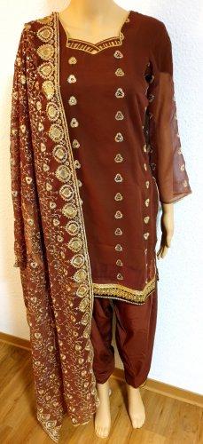 Aus Indien Sukienka z baskinką brąz-złoto
