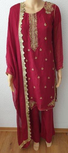 Aus Indien Sukienka z baskinką Wielokolorowy