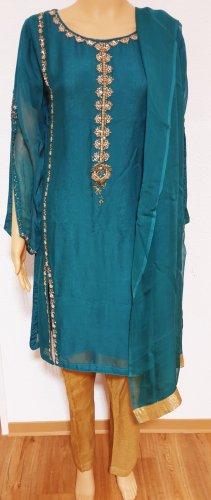 Aus Indien Robe péplum doré-bleu cadet