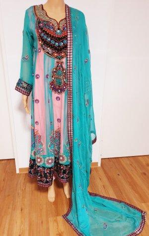 Aus Indien Sukienka z baskinką Wielokolorowy Szyfon