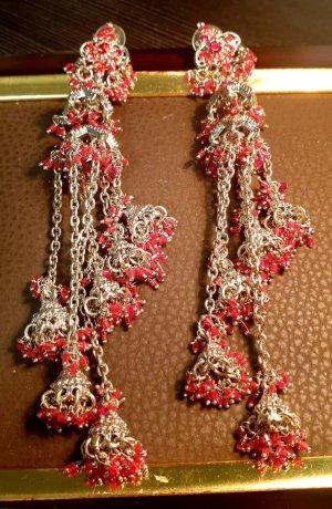 Aus Indien Wiszące kolczyki srebrny-czerwony