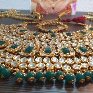 Aus Indien Naszyjnik złoto-zielony