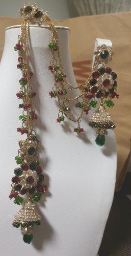 Aus Indien Wiszące kolczyki czerwony-zielony