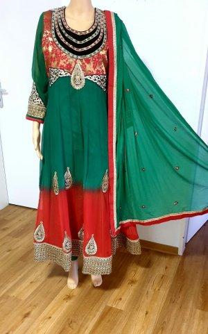 Aus Indien Sukienka maxi czerwony-zielony