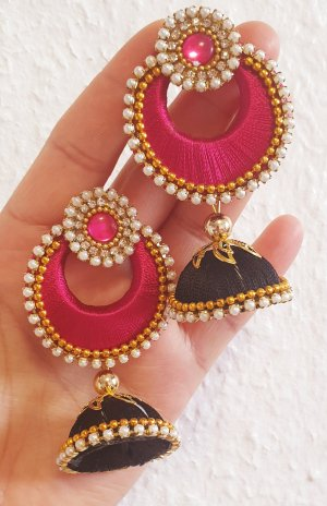 Kolczyk z perłą czarny-różowy