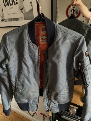 Schott Bomber Jacket steel blue-orange