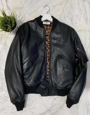 Saint Laurent Bomber Jacket black leather