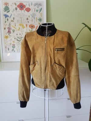Bomber Jacket dark yellow-sand brown leather