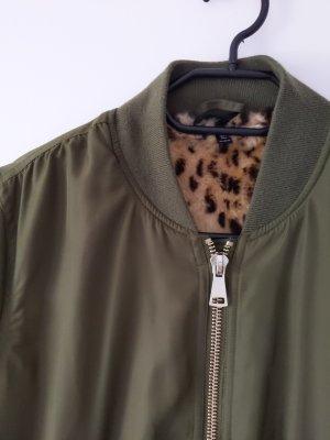 Bomberjacke • Jacke • khaki/ Leoprint • Größe 36 • Topshop